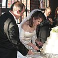 The bride cuts the cake!