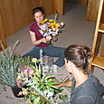 Finishing their bouquets
