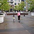 Grandma and Nate strolling in Soho Square