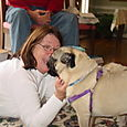 Mom and the Christmas pug