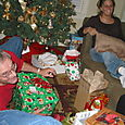 Santa passing out presents