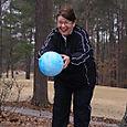 Grandma throwing the ball