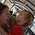 Grandma was excited to take Nate on his first train ride