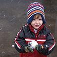 Nate got the hang of making snowballs