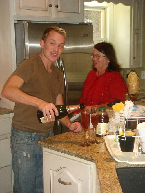 Ryan makes a cocktail